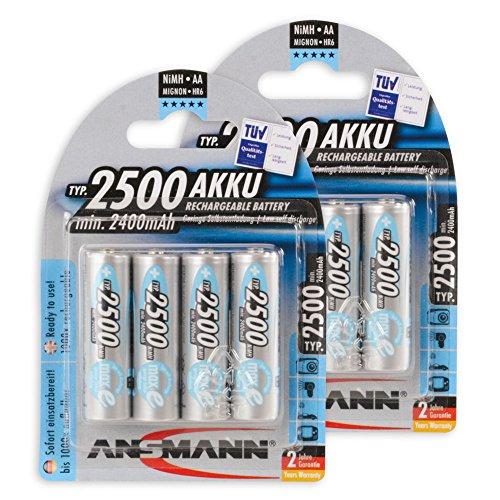 8x Ansmann Power Accu LSD NiMH Akku AA Mignon 2500 mAh maxE plus Akkubatterie