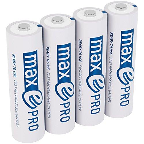 4x ANSMANN Akkubatterie maxE PRO Akku NEU mit noch mehr Power 2100 Zyklen, vorgeladen, sehr geringe Entladung + Akkubox