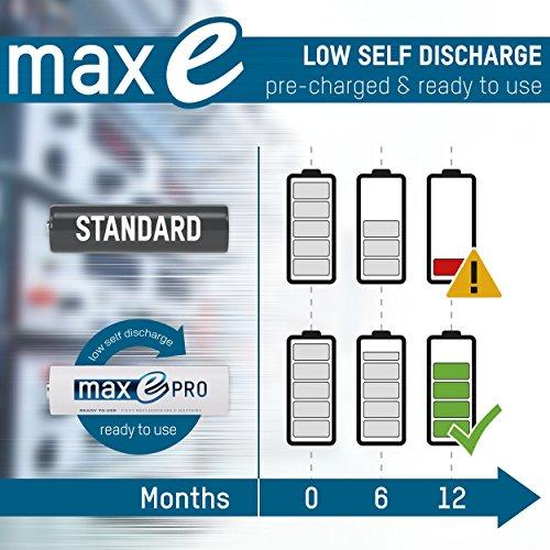 4x ANSMANN Akkubatterie maxE PRO Akku NEU mit noch mehr Power 2100 Zyklen, vorgeladen, sehr geringe Entladung + Akkubox - 4