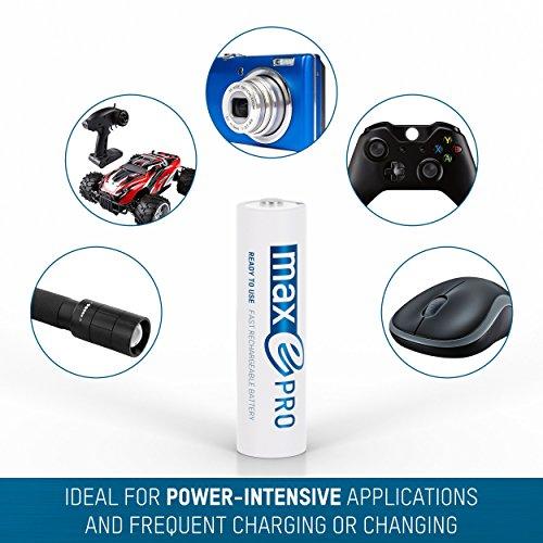 4x ANSMANN Akkubatterie maxE PRO Akku NEU mit noch mehr Power 2100 Zyklen, vorgeladen, sehr geringe Entladung + Akkubox - 6