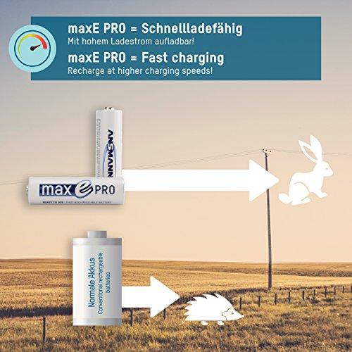 4x ANSMANN Akkubatterie maxE PRO Akku NEU mit noch mehr Power 2100 Zyklen, vorgeladen, sehr geringe Entladung + Akkubox - 5