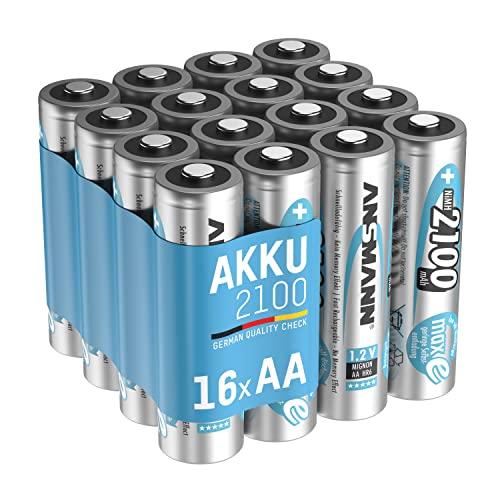 ANSMANN Mignon AA Akku 2100mAh maxE geringe Selbstentladung NiMH vorgeladene Akkubatterie (16er Pack)