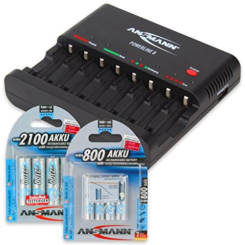 ANSMANN DAS STARTER SET: Powerline 8 Akku-Ladegerät Testsieger (Vergleich.org 08/2015) mit Entladefunktion, USB + 4x AA Akku 2100mAh + 4x AAA Akku 800mAh