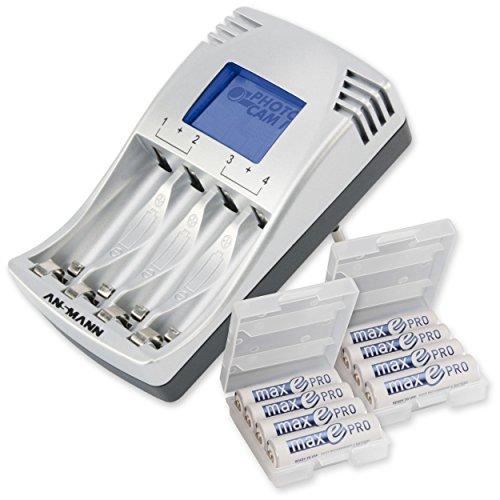 ANSMANN PhotoCam IV Akku-Ladegerät für Micro AAA/Mignon AA Akkus Steckerladegerät mit LCD-Anzeige + 8x AA Akkus maxE PRO