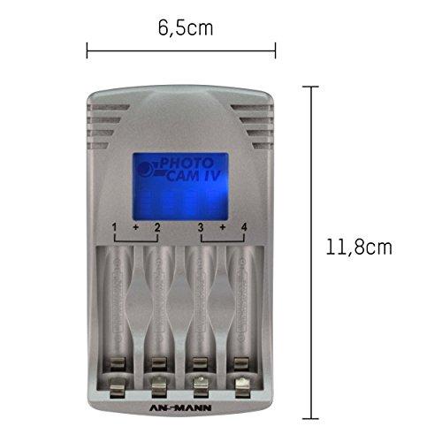 ANSMANN PhotoCam IV Akku-Ladegerät für Micro AAA/Mignon AA Akkus Steckerladegerät mit LCD-Anzeige + 4x AA Akkus 1300mAh - 2