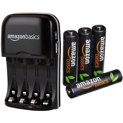 AmazonBasics Batterieladegerät für Ni-MH AA / AAA Akkus mit USB-Port und vorgeladene Ni-MH AAA-Akkus, 500 Zyklen, 4Stck