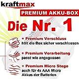 4er Pack Kraftmax hybriX pro Black Set – 4x Micro AAA Hybrid Akkus in hybriX Akkubox – Die Neue Generation von Hybrid Akku Batterien - 4