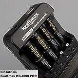 4er Pack Kraftmax hybriX pro Black Set – 4x Mignon AA Hybrid Akkus in hybriX Akkubox – Die Neue Generation von Hybrid Akku Batterien - 3