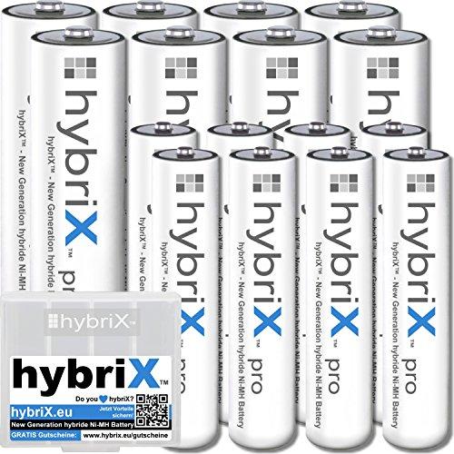 16er KombiPack Kraftmax hybriX pro Set - 8x Mignon AA + 8x Micro AAA Hybrid Akkus in Box - Die Neue Generation von Hybrid Akku Batterien