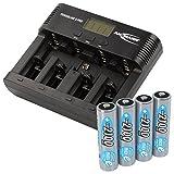 ANSMANN Powerline 5 Pro Akku Ladegerät für 1-4 AAA, AA, C, D NiMH/NiCd Akkus sowie 1 9V E-Block, USB-Port, Ladestrom einstellbar, Kapazitätsmessung, LCD + 4x Mignon AA 2100mAh maxE Akkus