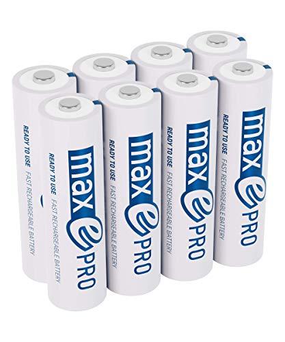 8x ANSMANN Akkubatterie maxE PRO Akku NEU mit noch mehr Power 2100 Zyklen, vorgeladen, sehr geringe Entladung LSD + 2x Akkubox