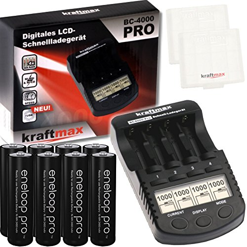 Kraftmax BC-4000 Pro Akku Ladegerät inkl. 8x Eneloop PRO AA / Mignon Akkus - Neueste Generation - 2550 mAh