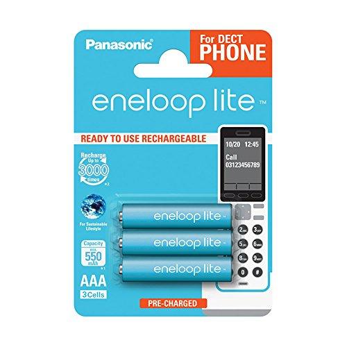 Panasonic Eneloop BK-4LCCE/3DE Lite Ready-to-Use Ni-MH Akku, AAA Micro, 3-er Pack, 550 mAh, 3.000 Ladezyklen hellblau
