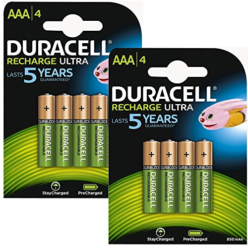 Duracell AAA HR03 Rechargeable Batteries Duralock Pre and Stay Charged 850mAh - Value 8 Pack