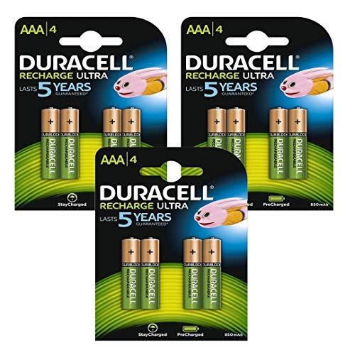 Duracell Wiederaufladbare NiMH-Akkus, AAA, bereits aufgeladen, einsatzbereit, bleiben nach dem Aufladen länger geladen, 850mAh, 1,2V, 12Stück