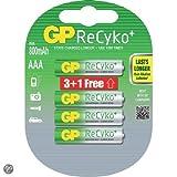 GP ReCyko+ Akku, AAA, NiMH, Micro, 4er Blister, 800 mAh, Vor-aufgeladene Akkus mit extrem geringer Selbstentladung, Sonderaktion
