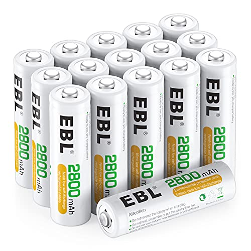 EBL 16 Stück 2800mAh hohe Kapazität AA Ni-MH wiederaufladbare Batterien