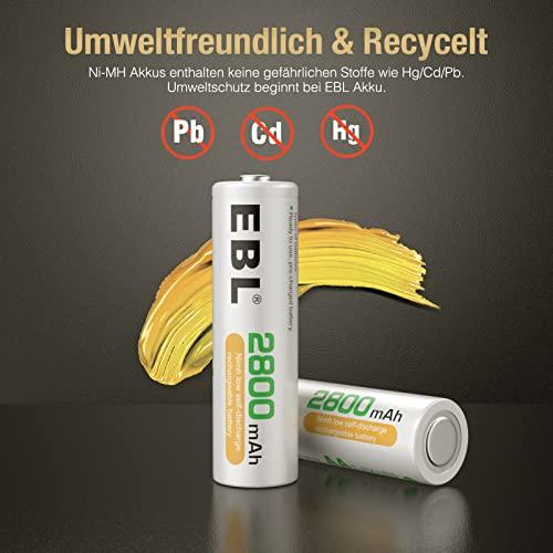 EBL 16 Stück 2800mAh hohe Kapazität AA Ni-MH wiederaufladbare Batterien - 6
