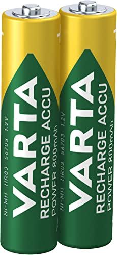 Varta Rechargeable Accu Ready To Use vorgeladener AAA Micro NiMh Akku (2er Pack, 800 mAh, wiederaufladbar ohne Memory-Effekt - sofort einsatzbereit)