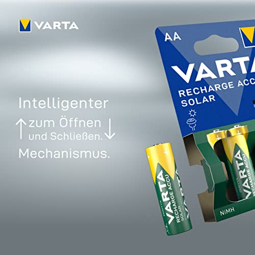Varta SOLAR Micro NiMh Akku (AA, 800mAh, 2er Pack, wiederaufladbar ohne Memory-Effekt – sofort einsatzbereit) - 4
