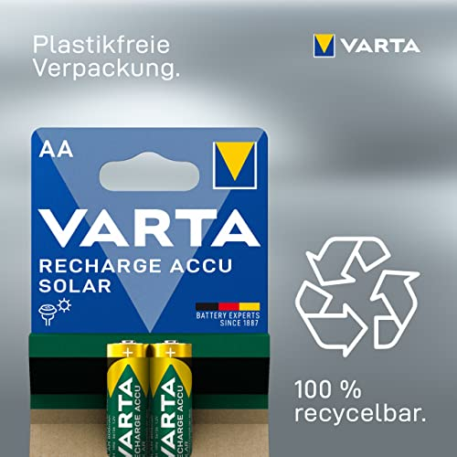 Varta SOLAR Micro NiMh Akku (AA, 800mAh, 2er Pack, wiederaufladbar ohne Memory-Effekt – sofort einsatzbereit) - 5
