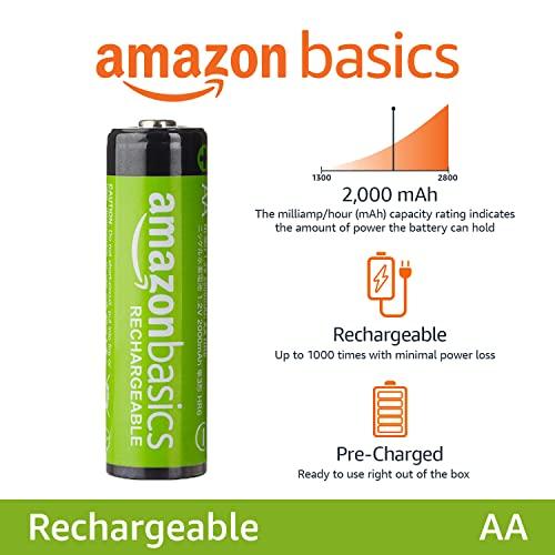 AmazonBasics Vorgeladene Ni-MH AA-Akkus – Akkubatterien (1.000 Zyklen, typisch 2000mAh, minimal 1900mAh) 4 Stck (Design kann von Darstellung abweichen) - 2