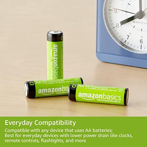 AmazonBasics Vorgeladene Ni-MH AA-Akkus – Akkubatterien (1.000 Zyklen, typisch 2000mAh, minimal 1900mAh) 4 Stck (Design kann von Darstellung abweichen) - 3