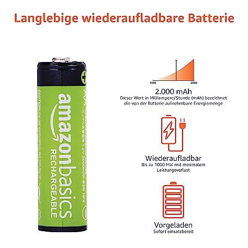 AmazonBasics Vorgeladene Ni-MH AA-Akkus – Akkubatterien (1.000 Zyklen, typisch 2000mAh, minimal 1900mAh) 4 Stck (Design kann von Darstellung abweichen) - 4