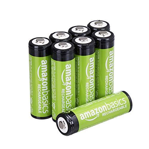 AmazonBasics Vorgeladene Ni-MH AA-Akkus - Akkubatterien (1.000 Zyklen, typisch 2000mAh, minimal 1900mAh) 8 Stck (Design kann von Darstellung abweichen)