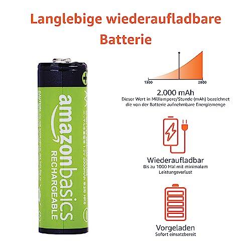 AmazonBasics Vorgeladene Ni-MH AA-Akkus – Akkubatterien (1.000 Zyklen, typisch 2000mAh, minimal 1900mAh) 8 Stck (Design kann von Darstellung abweichen) - 4