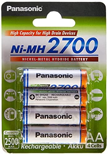 Panasonic High Capacity AA Mignon NI-MH 2700 Akku wiederaufladbar, BK-3HGAE/4BE (2.500 mAh, 4er Pack) -