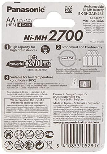 Panasonic High Capacity AA Mignon NI-MH 2700 Akku wiederaufladbar, BK-3HGAE/4BE (2.500 mAh, 4er Pack) – - 2