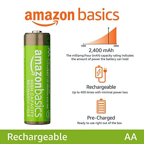 AmazonBasics Vorgeladene Ni-MH AA-Akkus – Akkubatterien, 500Zyklen (typisch 2500mAh, minimal 2400mAh), 4Stck (Design kann von Darstellung abweichen) - 2