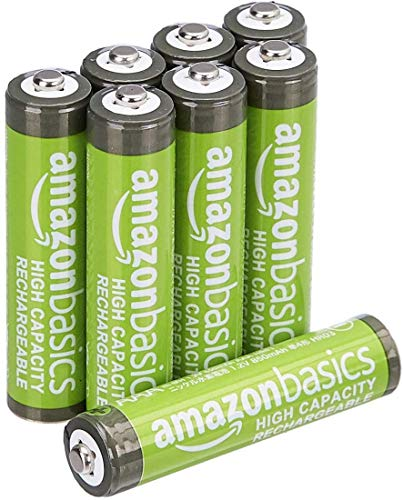 AmazonBasics Vorgeladene Ni-MH AAA-Akkus - Akkubatterien, 500 Zyklen (typisch 850mAh, minimal 800mAh), 8Stck (Design kann von Darstellung abweichen)