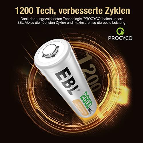 EBL wiederaufladbare Batterien 2800mAh AA Ni-MH, 8 Stück - 3