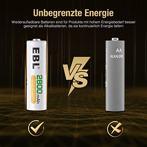 EBL wiederaufladbare Batterien 2800mAh AA Ni-MH, 8 Stück - 5