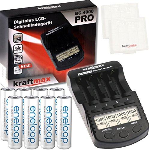 Kraftmax BC-4000 Pro Ladegerät und 8x Pansonic Eneloop AA / Mignon Akkus - Neueste Generation - Hochleistungs Akku Batterien in Kraftmax Akkuboxen V5