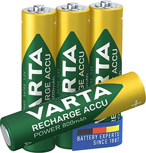 Varta Rechargeable Accu Ready2Use vorgeladener AAA Micro Ni-Mh Akku (4-er Pack, 800mAh), wiederaufladbar ohne Memory-Effekt - sofort einsatzbereit