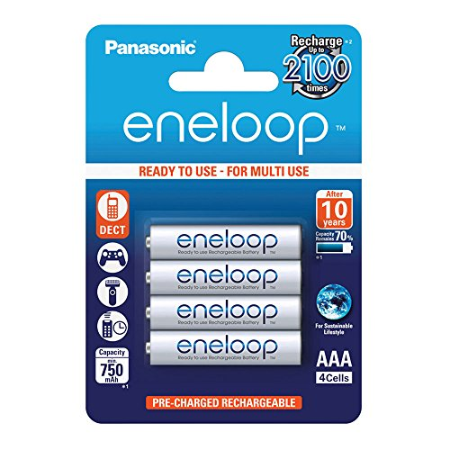 Panasonic eneloop AAA Ready-to-Use Micro NI-MH Akku BK-4MCCE/4BE (750 mAh, eneloop Classic AAA 4er-Pack) -