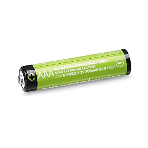 AmazonBasics Vorgeladene Ni-MH AAA-Akkus – Akkubatterien (1.000 Zyklen, typisch 800mAh, minimal 750mAh) 4 Stck (Design kann von Darstellung abweichen) - 3