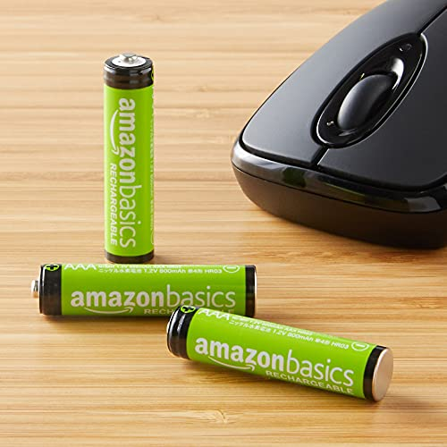 AmazonBasics Vorgeladene Ni-MH AAA-Akkus – Akkubatterien (1.000 Zyklen, typisch 800mAh, minimal 750mAh) 4 Stck (Design kann von Darstellung abweichen) - 7