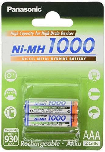 Panasonic High Capacity AAA Micro NI-MH 1000 Akku wiederaufladbar, BK-4HGAE/2BE (930 mAh, 2er Pack) -