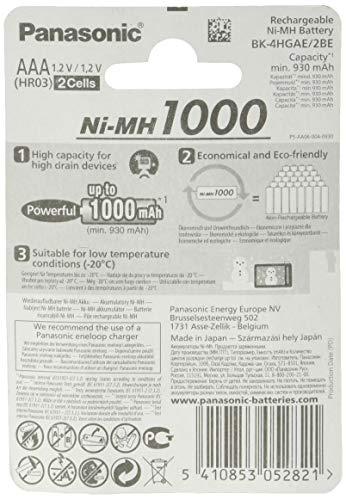 Panasonic High Capacity AAA Micro NI-MH 1000 Akku wiederaufladbar, BK-4HGAE/2BE (930 mAh, 2er Pack) – - 2
