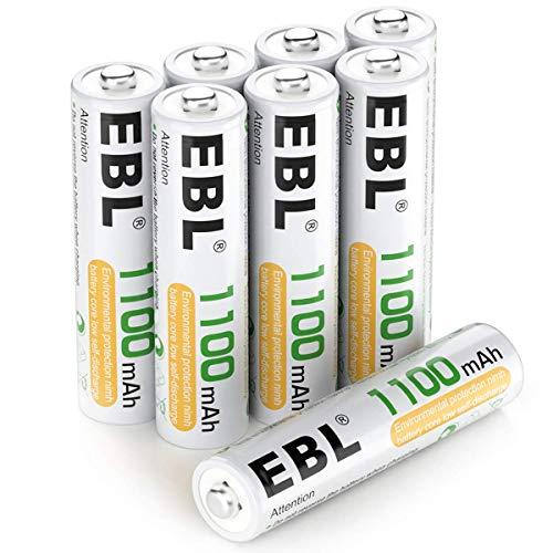 EBL® 8 Stück 1100mAh hohe Kapazität AAA Ni-MH wieder aufladbare Batterien