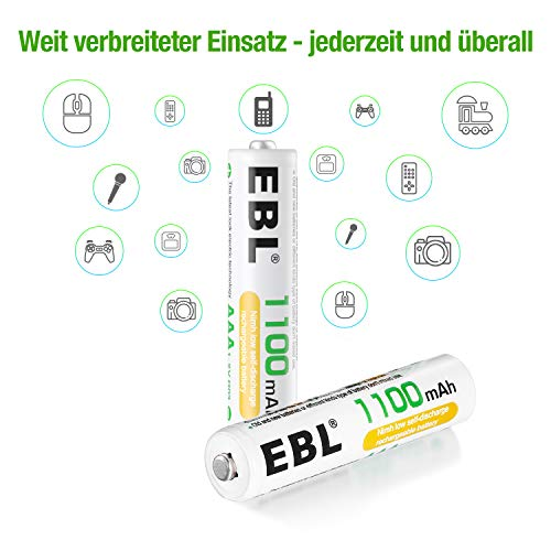 EBL® 8 Stück 1100mAh hohe Kapazität AAA Ni-MH wieder aufladbare Batterien - 6