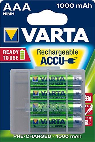 Varta Ready2Use wiederaufladbarer Micro Ni-Mh Akku (AAA, 1000mAh, 4-er Pack) inklusive Aufbewahrungsbox