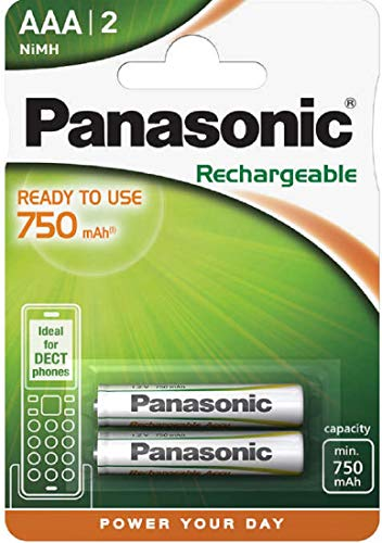 Panasonic Akku 800 mAh (750 mAh) NiMH P03 HR03 Micro AAA Rechargeable Accu Ideal for Dect / für Schnurlostelefone 2er-Packung