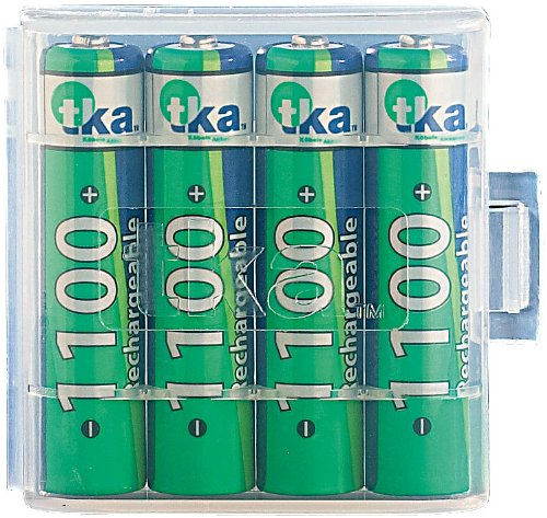 tka Köbele Akkutechnik 1100 mAh NiMH-Akkus AAA Micro 4 Stück + Batteriebox