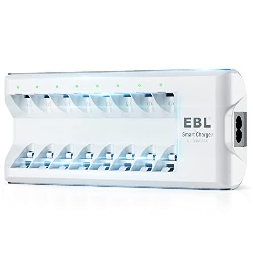 EBL AA AAA Smart charger Akku Ladegerät (8x Stecker) für Ni-MH Ni-Cd Mignon AA/Micro AAA