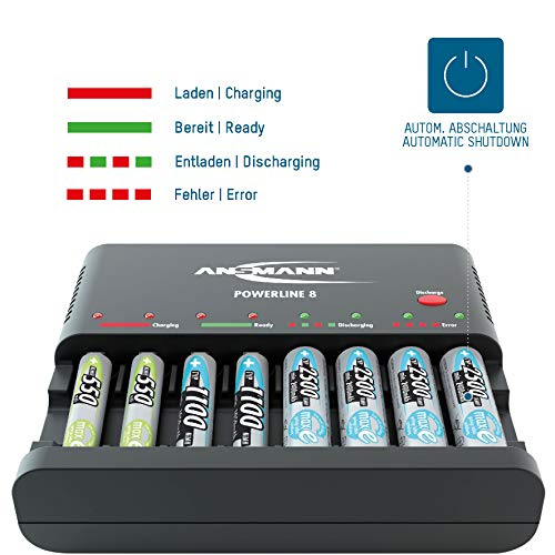ANSMANN Powerline 8 Akku-Ladegerät Testsieger (Vergleich.org 08/2015) für 8x Mignon AA/Micro AAA Akkubatterien mit Entladefunktion - 4